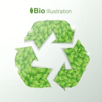 Concepto de armonía ecológica con hojas verdes en forma de símbolo de reciclaje
