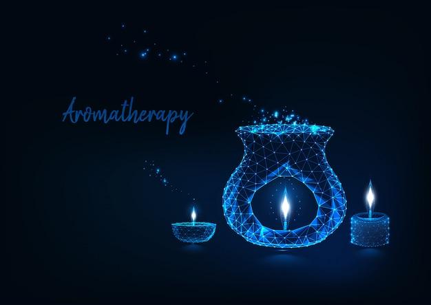 Concepto de aromaterapia con lámpara de aroma poligonal de bajo brillo.