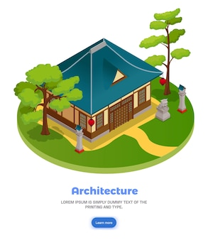 Concepto de arquitectura asiática con paisaje de jardín y casa isométrica
