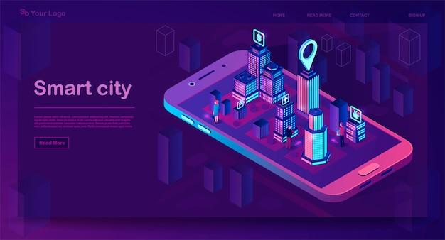 Concepto de arquitectura isométrica de ciudad inteligente. banner web con edificios de neón. mapa de aplicaciones para teléfonos inteligentes de la ciudad futurista. edificios inteligentes con letreros. internet de las cosas. ilustración