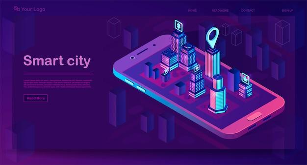 Concepto de arquitectura isométrica de ciudad inteligente