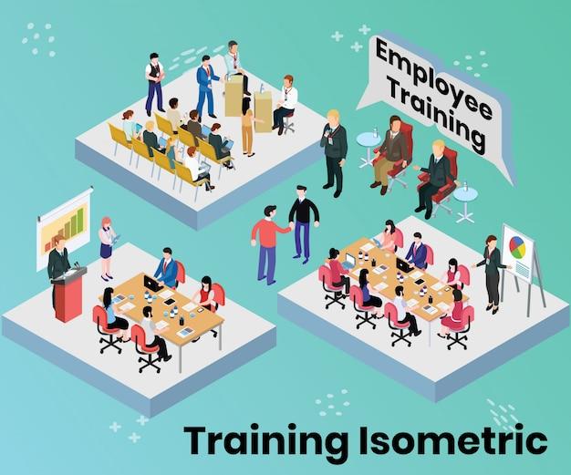 Concepto de arte isométrico de la formación de empleados