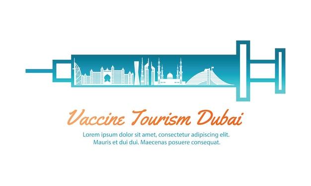 Concepto de arte de viaje de turismo de vacunas de dubai