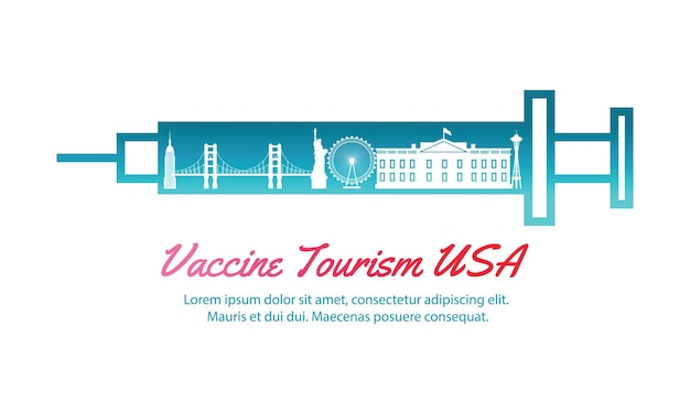 Concepto de arte de viaje de turismo de vacunas de ee. uu.