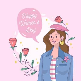 Concepto artístico dibujado a mano para el día de la mujer.