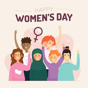 Concepto artístico de diseño plano para el día de la mujer.