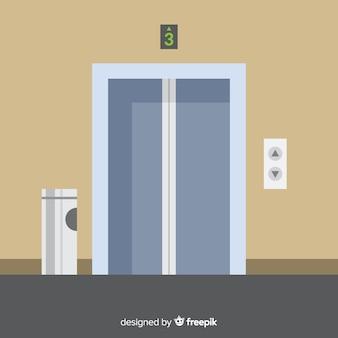 Concepto de ascensor con puerta abierta y cerrada en diseño flat
