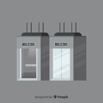 Concepto de ascensor con puerta abierta y cerrada en estilo flat