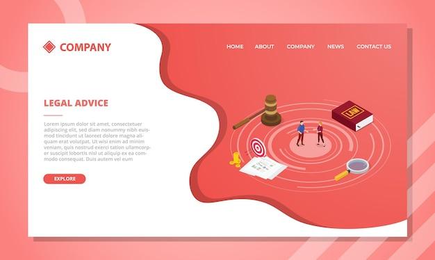 Concepto de asesoramiento legal para plantilla de sitio web o diseño de página de inicio de aterrizaje con estilo isométrico