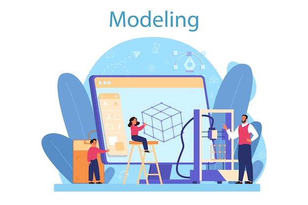 Concepto de asignatura escolar de modelado.