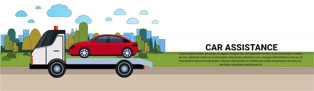 Concepto de asistencia para el automóvil con servicio de carretera remolque de vehículos remolque plantilla de banner horizontal
