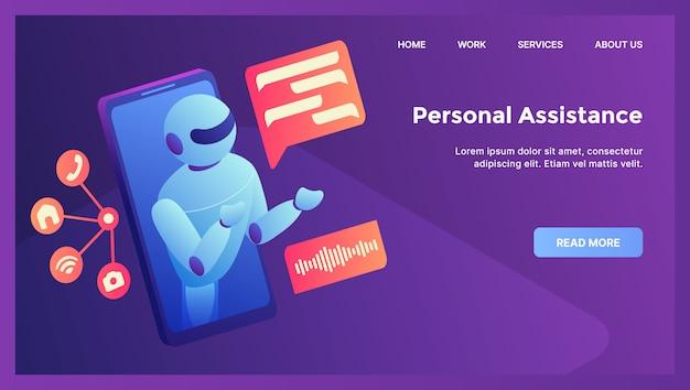 Concepto de asistencia personal de robot para la página de inicio de la plantilla del sitio web con plano isométrico moderno