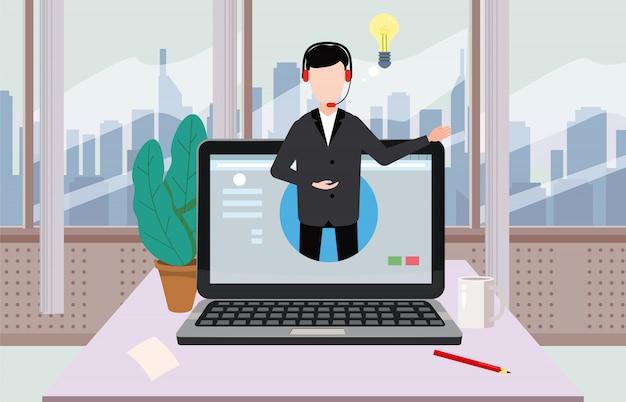 Concepto de asistente en línea, cliente y operador, centro de llamadas, soporte técnico global en línea 24-7