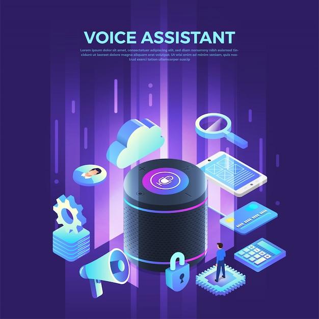 Concepto asistente de voz internet de las cosas. controle todo con hablar al dispositivo. gráfico moderno. ilustración isométrica.