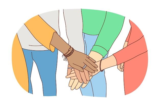 Concepto de asociación de liderazgo de trabajo en equipo de negocios de amistad