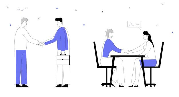 Concepto de asociación con la reunión de empresarios, estrechar la mano, llegar a un acuerdo durante la negociación.
