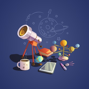 Concepto de astronomía con iconos de dibujos animados de ciencia retro