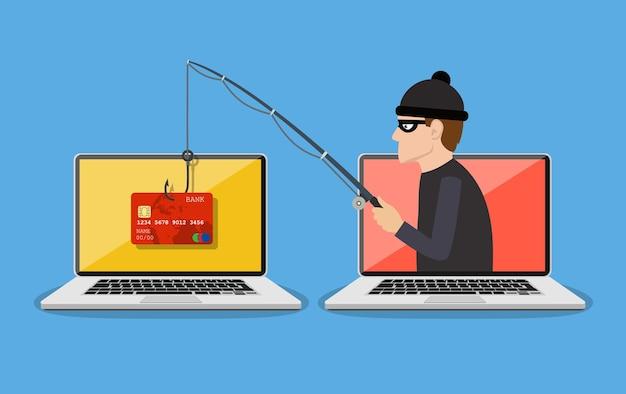 Concepto de ataque de piratería y phishing en internet.