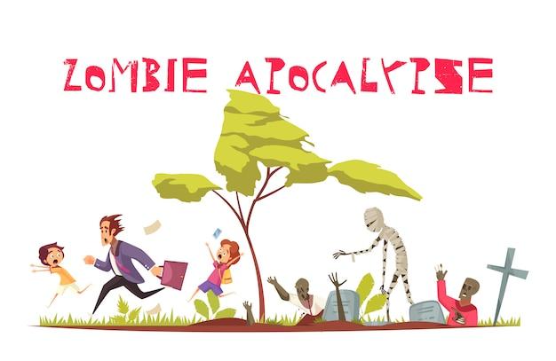 Concepto de ataque zombie con símbolos de apocalipsis y miedo planos