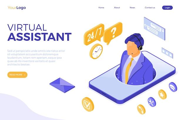 Concepto de atención al cliente en línea con asistente virtual isométrico