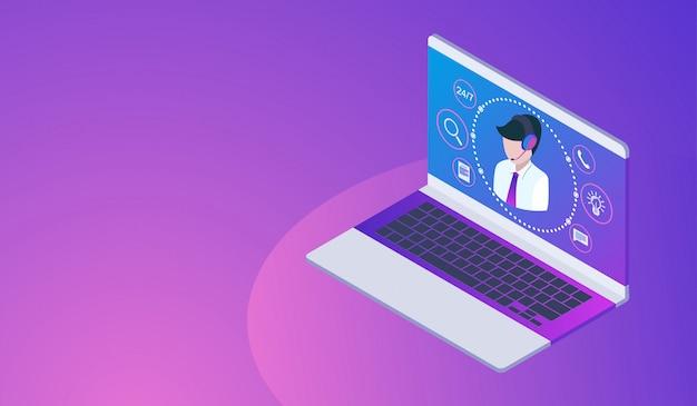 Concepto de atención al cliente o línea directa con laptop, call center 24h.