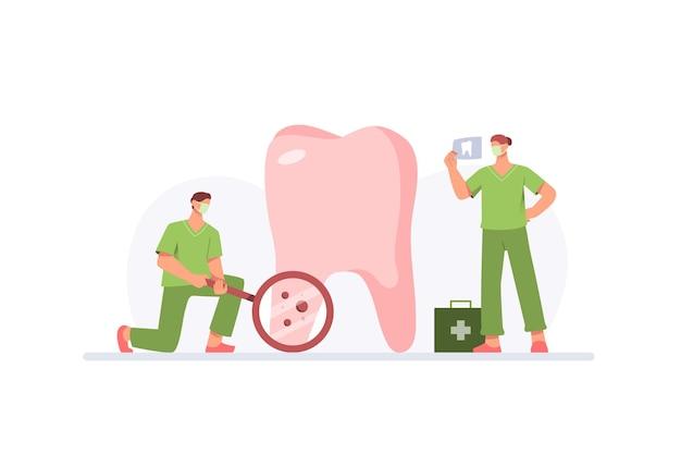Concepto de atención dental con médicos que examinan los dientes grandes en diseño plano
