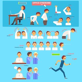 Concepto de atención médica de síndrome de oficina.