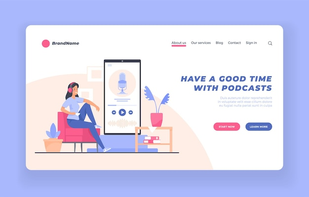 Concepto de audiolibro de formación de seminarios web para oyentes de podcasts de audio