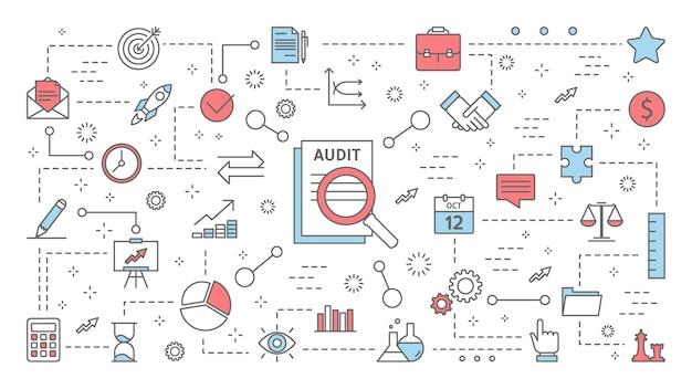 Concepto de auditoría. análisis y analítica de finanzas comerciales. trabajando con documento. proceso de evaluación. conjunto de iconos de línea. piso aislado