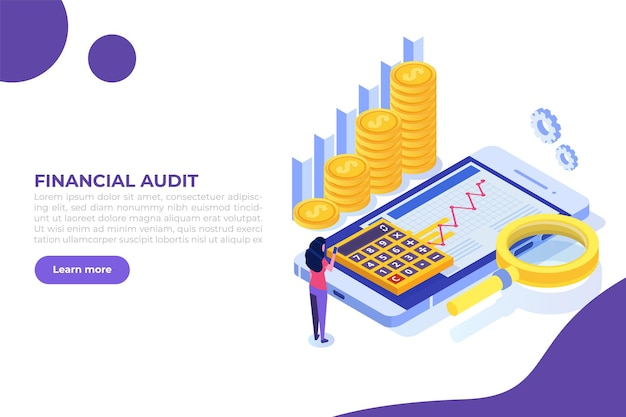 Concepto de auditoría de examinador de administración financiera con caracteres impuesto de la empresa y cuenta