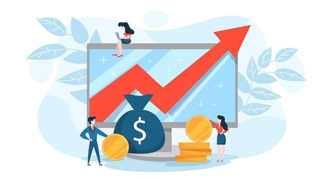 Concepto de aumento financiero. idea de crecimiento monetario