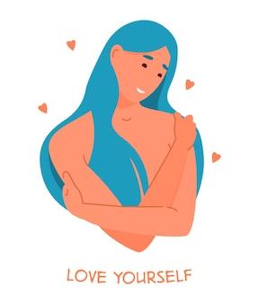 Concepto de autocuidado y autoaceptación. sonriente joven mujer desnuda con cabello azul abrazándose a sí misma.