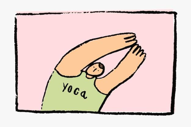 Concepto de autocuidado de dibujos animados dibujados a mano de vector de yoga
