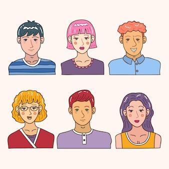 Concepto de avatar de personas para diseño de ilustración