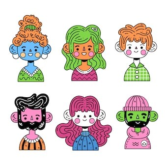 Concepto de avatares de jóvenes