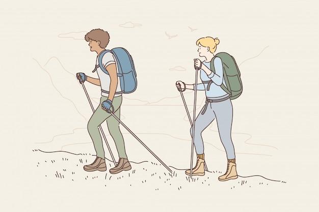 Concepto de aventura de actividad de montañismo de turismo itinerante