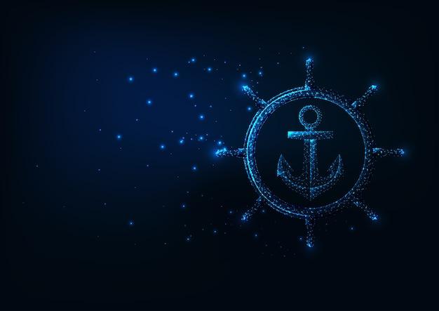 Concepto de aventura de mar futurista con rueda de nave poligonal baja brillante y ancla aislada sobre fondo azul oscuro. malla de marco de alambre moderno.