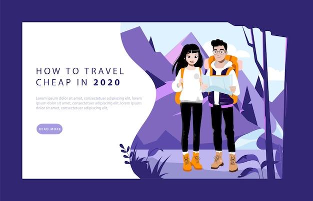 Concepto de aventura y senderismo de fin de semana. página de destino del sitio web. pareja de jóvenes turistas con mochilas. personajes masculinos y femeninos van de excursión a las montañas. ilustración de vector plano de dibujos animados de página web.