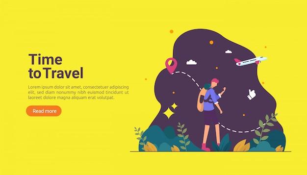 Concepto de aventura de viaje mochilero. tema de vacaciones al aire libre de senderismo, escalada y trekking
