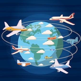 Concepto de aviones alrededor del mundo. ilustración de dibujos animados de aviones de todo el mundo de fondo