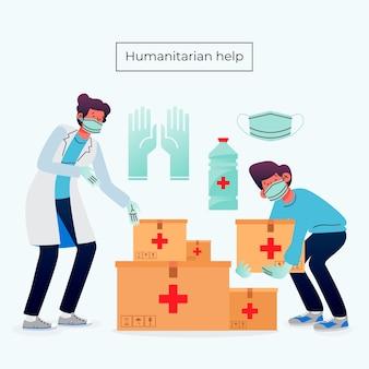 Concepto de ayuda humanitaria con enfermera
