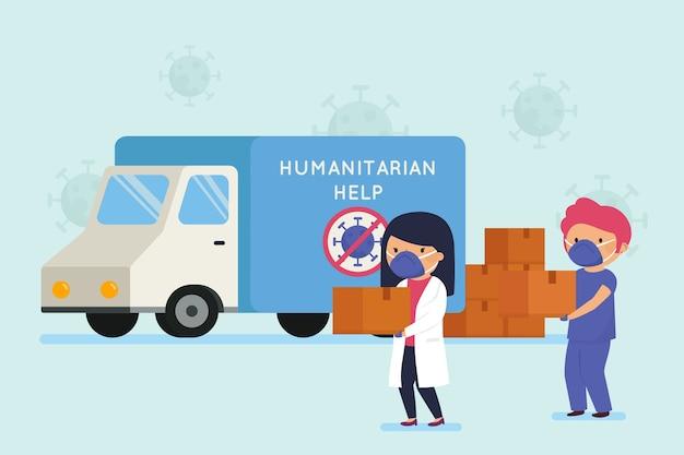 Concepto de ayuda humanitaria de entrega gratuita