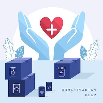 Concepto de ayuda humanitaria con manos