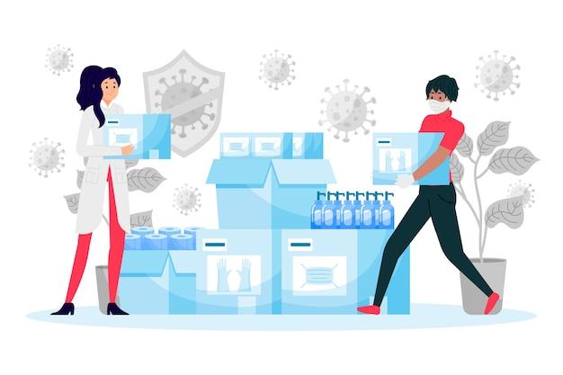 Concepto de ayuda humanitaria con virus