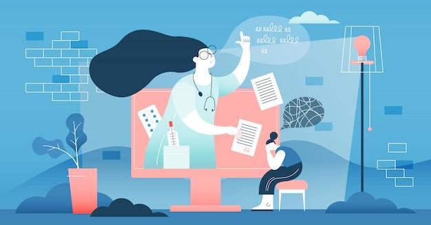 Concepto de ayuda médica de médico en línea.