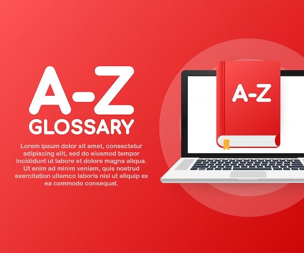 Concepto az glosario libro para página web, banner, redes sociales.