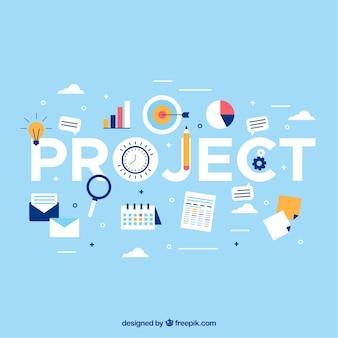 Concepto azul claro de gestión de proyectos