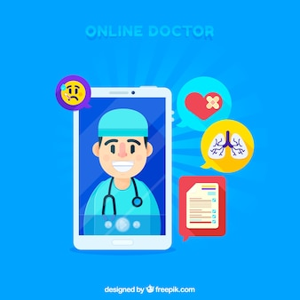 Concepto azul de médico online con smartphone