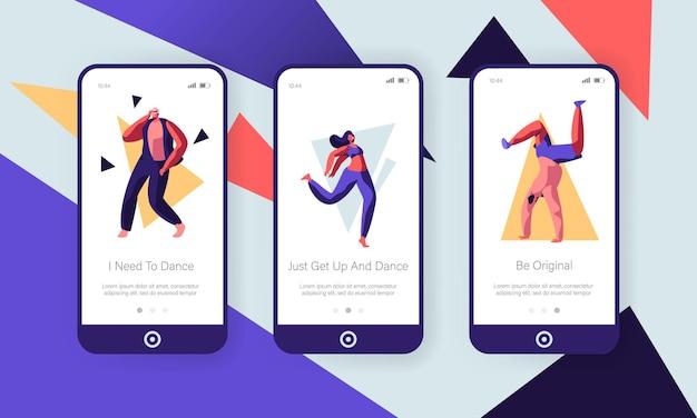 Concepto de baile de jóvenes. conjunto de pantallas integradas de la página de la aplicación móvil
