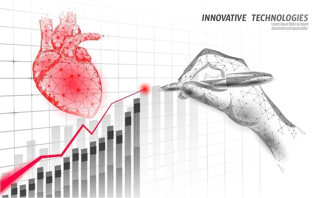 Concepto de baja poli de la medicina 3d de la ciencia del corazón